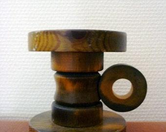 Vintage Espika Finland Candle Holder / Olive Green Wood 1970s