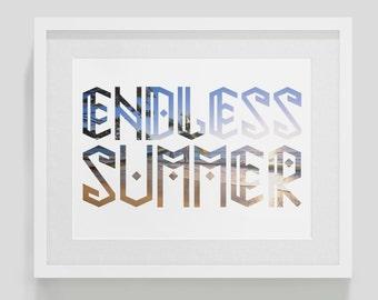 Endless Summer - Summer Print with Beach Photo, Beach Decor, Summertime, Tribal
