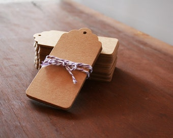 25, 50, 100 Kraft Hang Tags / Favour Tags / Gift Tags 45x95mm