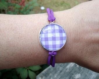 Purple Love, Fun Plaid Bracelet, Silver Tray