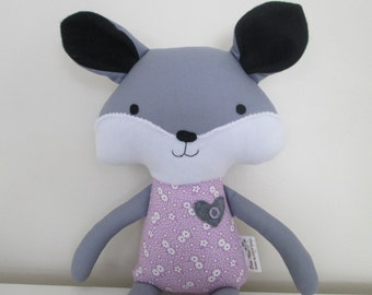 Fox Softie- Gray with Purple Outfit- Toddler or Baby Gift- Ready to ship