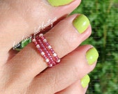Stacking Toe Ring - Pretty in Mauve - Apricot - Stretch Bead Toe Ring