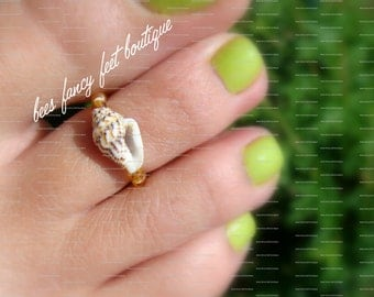 Toe Ring - Shell - Topaz - Apricot - Bead Stretch Bead Toe Ring