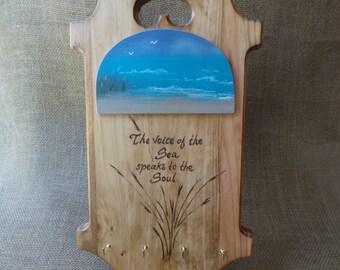 Wall keyholder, hand painted key holder, beach, beach wedding gift, ocean painting, beach house