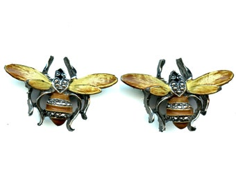 Vintage Pair of Bee or Wasp Scatter Pins