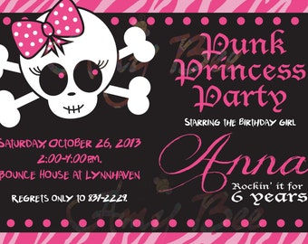 Punk Rock Princess Invitation - Printable