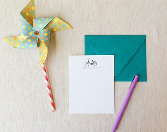 Bicycle Personalized Stationery Set of 10