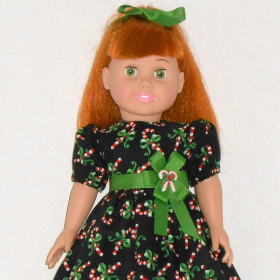 18 inch doll christmas dress black with red candy canes fits ag doll