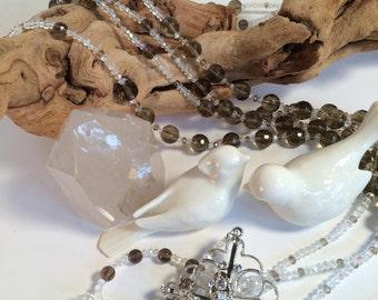 Wedding Lasso crafted in Faceted Smokey Quartz with Swarovski Crystals, wedding lasso, lasso, gemstone, customize order