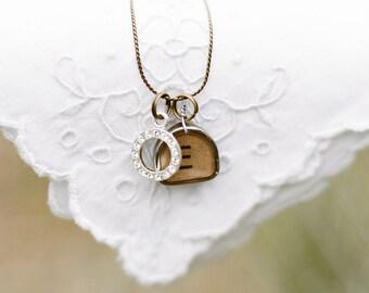 Vintage Typewriter Key Necklace with Swarovski Crystal Charm (one letter)