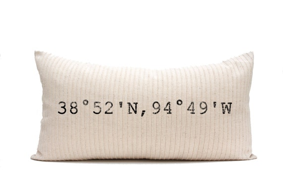 longitude and latitude pillow, coordinates pillow