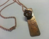 Necklace, copper, stamped