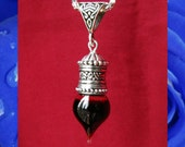 Pendulum Droplet - Vial of Blood Pendant - glass and silver plated metal - Memento Mori Vampire Necklace