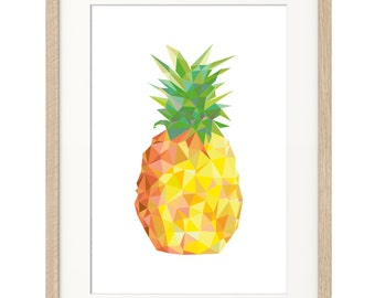 Poster Print Art Pineapple Geometric Low Poly A4 or A3
