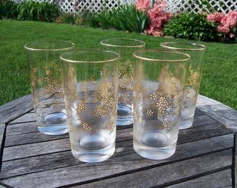 Vintage Embossed Tumblers Collins Water Glasses 1950's Libbey Federal set of 5 Embellished Embossing