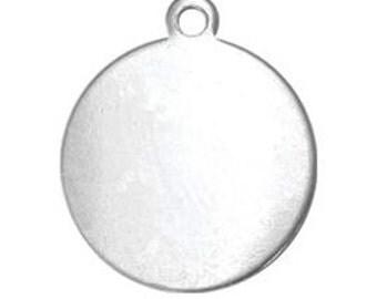 """3.50 shpg, 6-60) 1/2"""" Circle Tag Blanks or 11/16"""" Circle Tag Blanks, 20G Aluminum Blanks w/ ring, Aluminum TAG Blanks, stamping blanks /hole"""