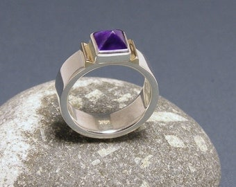 Wide Band Ring Amethyst and Sterling Silver Ring ~ With 14kt Gold