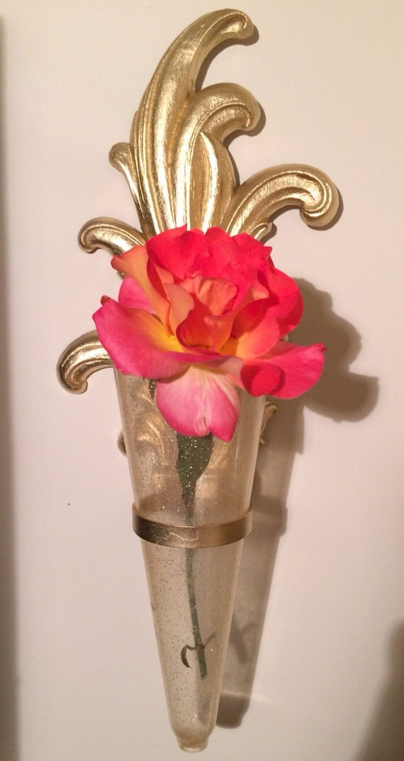 Wall Sconces Flower Vases : Vintage 1940s Syroco Wood Sconce Wall Flower Bud Vase