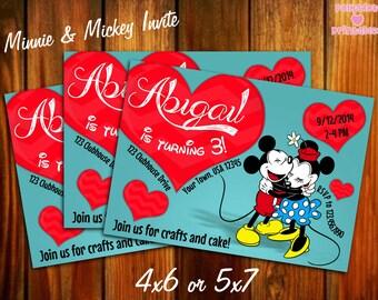 Minnie and Mickey Invitation 4x6 or 5x7 Printable Digital File