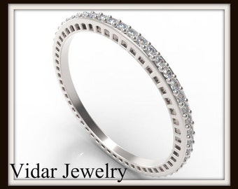 White Gold Diamond Microband,Unique Filigree Ring,Unique Wedding Band,Thin Gold Wedding Band,Womens Wedding Ring,Stackable Ring