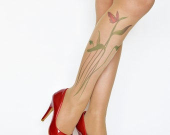 Tattoo Tights With Butterfly On The Plant  , S-XXL Sizes Available , Handprinted  Womens Pantyhose , Butterfly Printed Tights