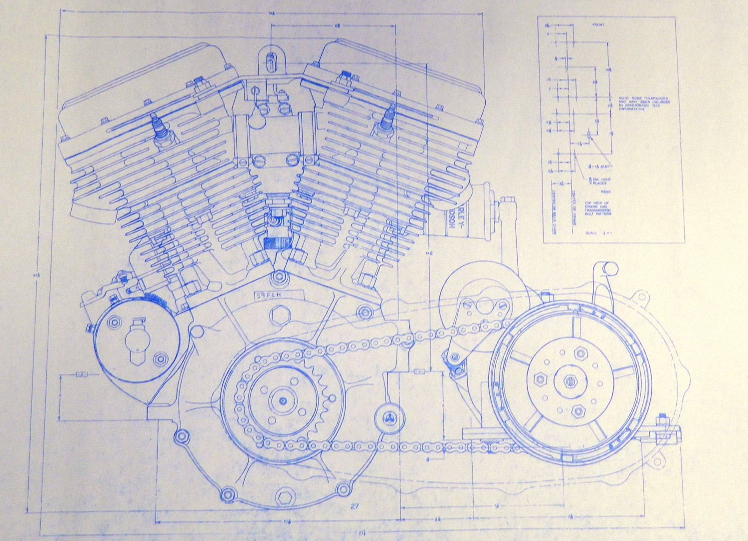 Harley davidson 74 ci engine 2 sheets blueprint by for Where to buy blueprint paper