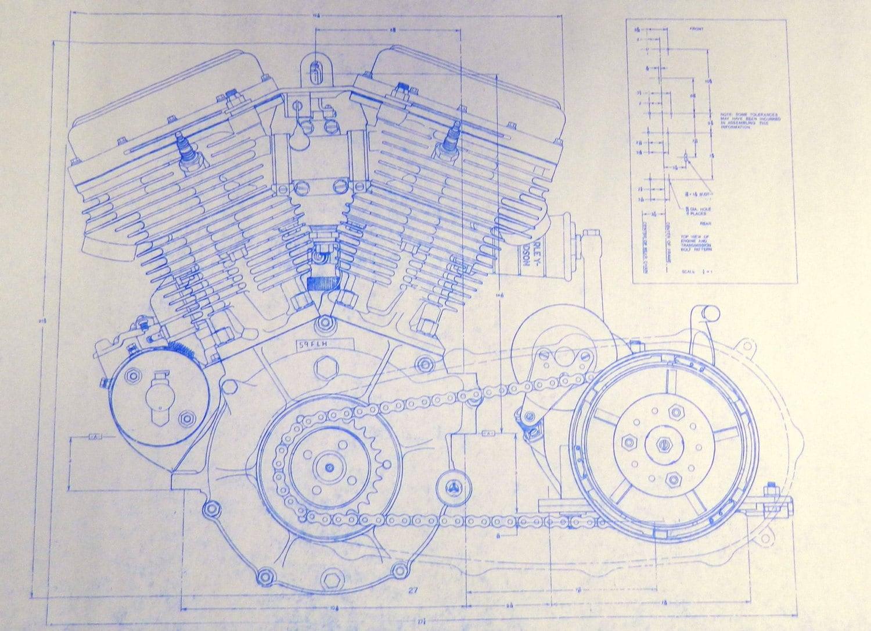 Harley Davidson 74 Ci Engine 2 Sheets Blueprint By