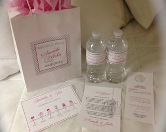 Wedding Welcome Bag Basket Bundle Package // Printable Wedding Letter, Water Bottle Labels, Wedding Itinerary