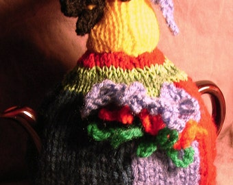 PARROT TEA COSY Knitting Pattern for 3 sizes of tea cosy in Double Knitting Wool - Easy Row by row instructions
