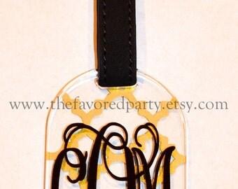 Monogrammed Acrylic Luggage Tag