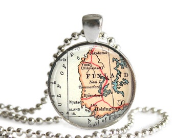 Finland necklace pendant charm, Finland map jewelry charms,  photo pendant, Husband gift, available as a keychain or money clip, A174