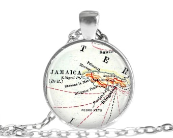 Jamaican map necklace pendant charm, Jamaica jewelry, Jamaican pendant, bachelorette gift, bridal gift, gift for wife, women gift,  A151