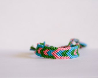 Woven Bracelet Geometric Chevron Friendship Bracelet Pink Green and Turquoise