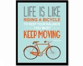 Bicycle poster, leaving gift, Albert Einstein, inspirational quote, quote art, nursery decor, bike print, Life is Like Riding A Bicycle