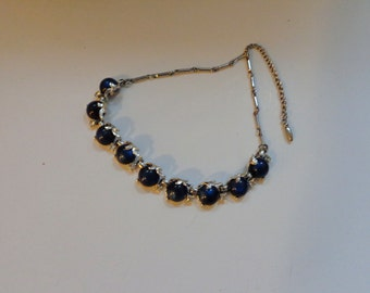 Necklace Midnight Blue & Crystal,  Vintage 50's Necklace Silver tone chain