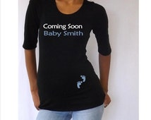 """Personalized maternity Shirt """"Coming soon ____"""" with footprints elbow  sleeves"""