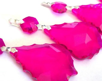ONE Chandelier Crystals Fuchsia Pink French Cut 50mm Ornament Prism Feng Shui Wedding Crystals