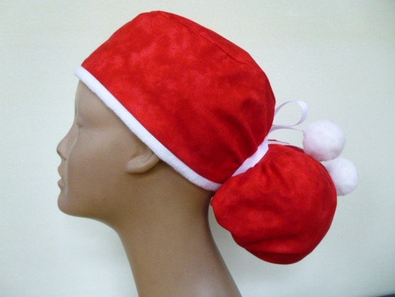 santa hat s surgical ponytail scrub by