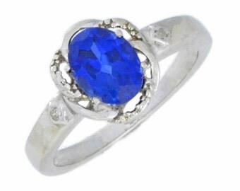 1.5 Ct Blue Sapphire & Diamond Oval Ring .925 Sterling Silver Rhodium Finish