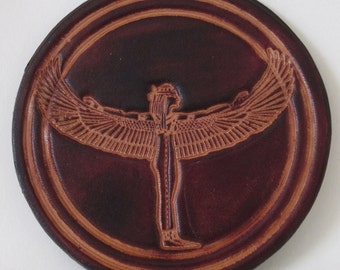Handmade Leather Coaster, Isis design by Cordwain Higgler. Cordovan Brown.