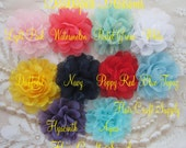 10 LACE and CHIFFON PUFFS - 1 of each color - Flowers for baby headbands, clips or crafts no add on shipping charge for multiples