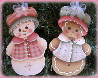 Snowgirl and Ginger Ornaments Painting E-Pattern