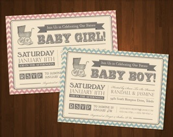 Vintage Style Baby Shower Invitations - DIY Printable File