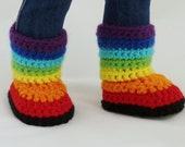 PDF CROCHET PATTERN - Kaleidoscope - Striped Boots for American Girl Dolls - Instant Download