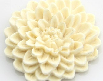 12 pcs of resin chrysanthemum flower 33mm -0481-15-cream