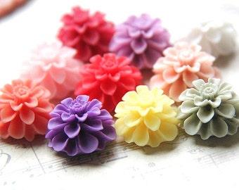 12 pcs of resin flower cabochon-20mm-RC0031-Mix color