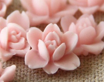 12 pcs of resin lotus flower cabochon RC0011-24-soft pink