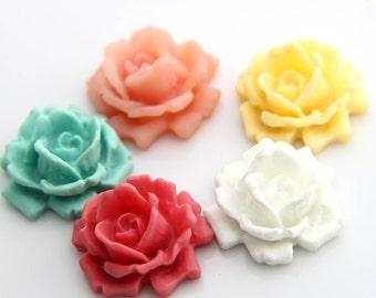 12 pcs  5 colors  of resin  flower  cabochon 33mm -0007-mix  color