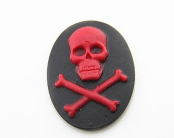 12pcs of resin skull with bone cameo-30x40mm-rc0233-red on black