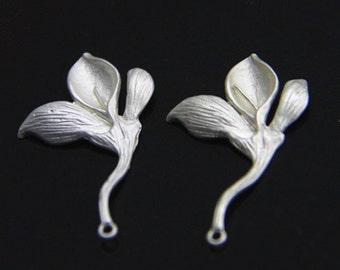 6 pcs of brass floral charm pendant  30x18mm-1669-matte silver